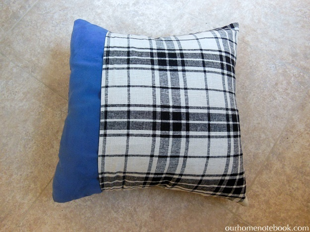 Pocket Pillow Cover Tutorial - put pillow in cover