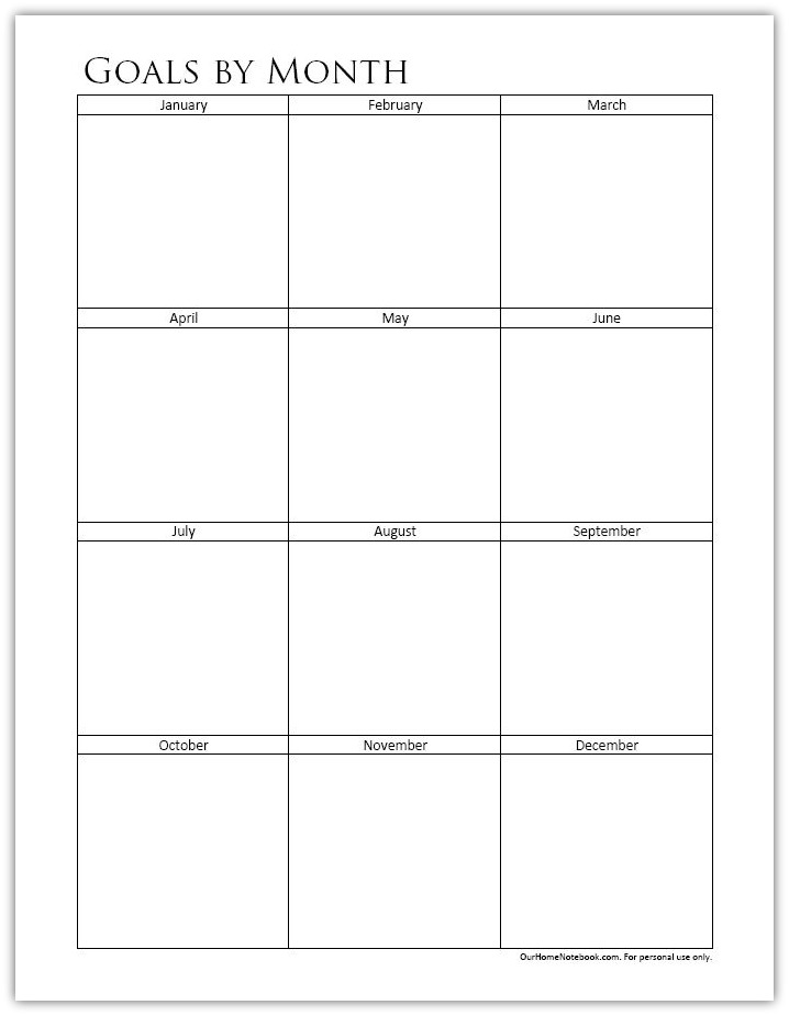 Making Goals By Month Free Printable Our Home Notebook