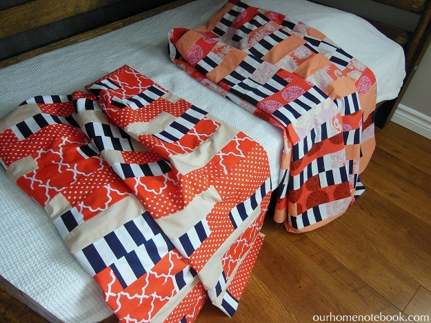 matching striped quilts