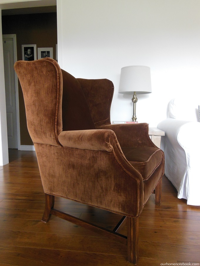 thrifted wing back chair