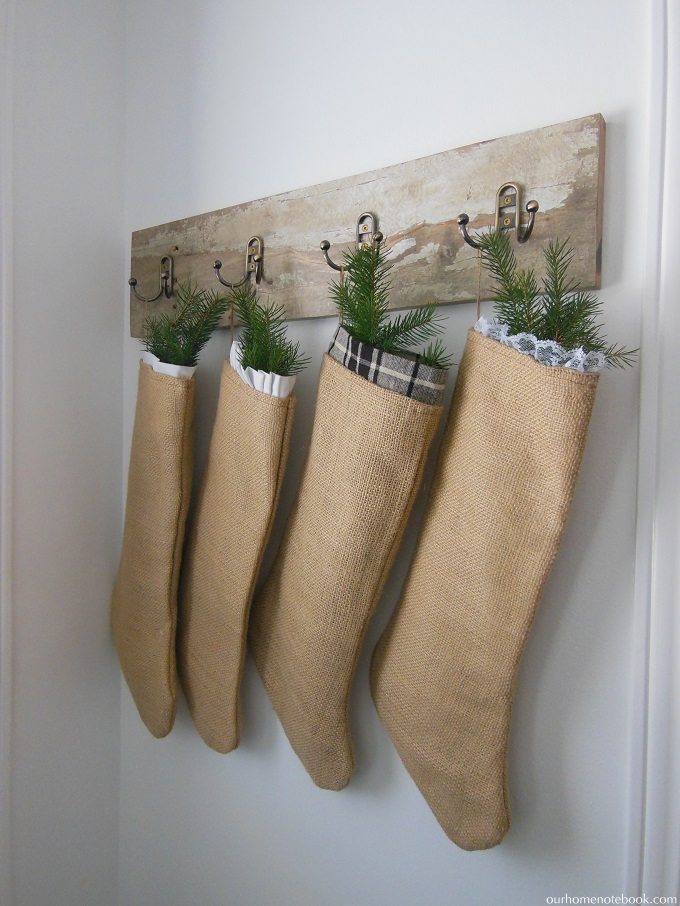 burlap stockings on hooks
