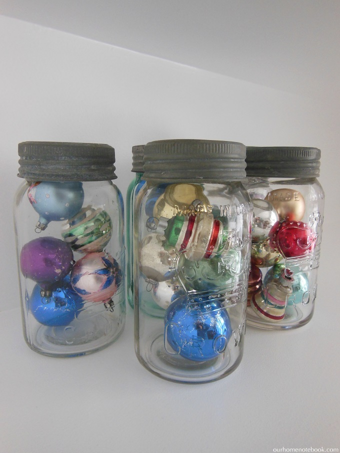 vintage ornaments in mason jars