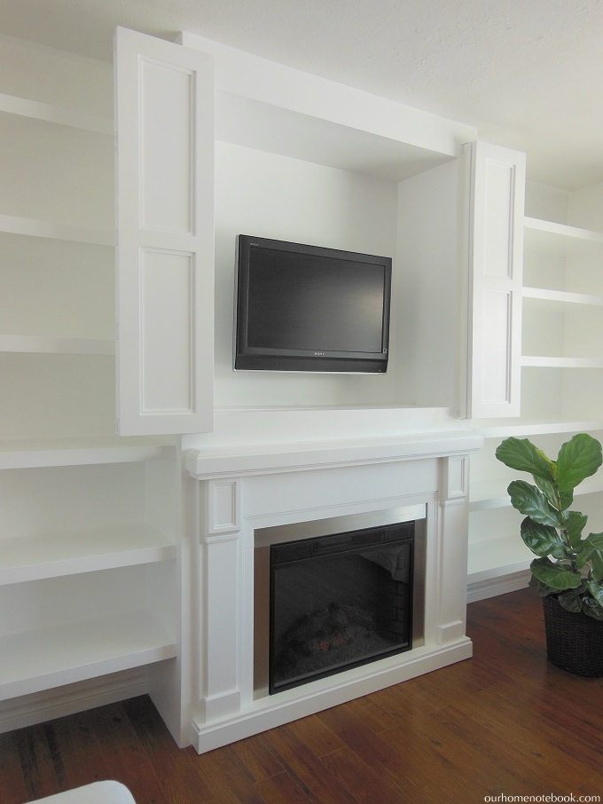 Built In Fireplace Amp Tv Nook With Doors Our Home Notebook