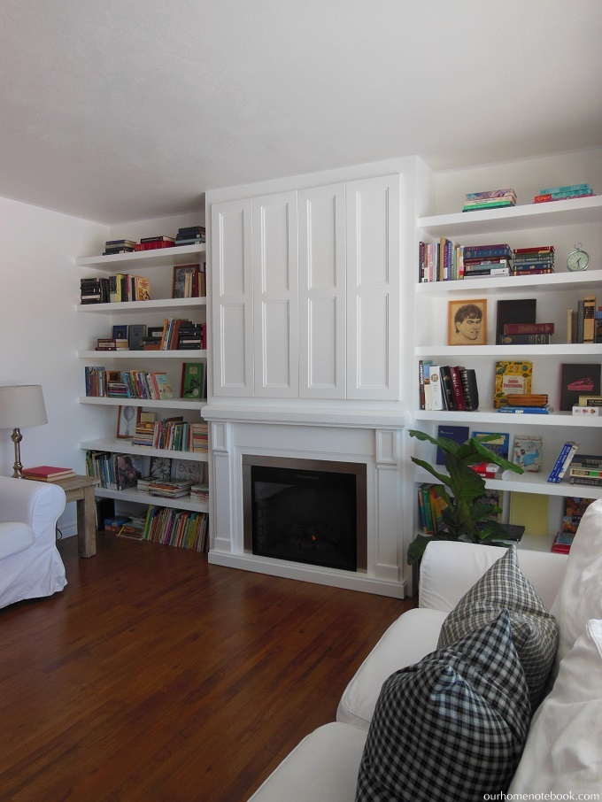 Remodelaholic | Built In Fireplace Surround And Shelving With Hidden TV Nook